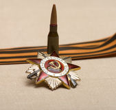 Victory symbols. Bullet, the Order of the Patriotic War and the Ribbon of Saint George Stock Images