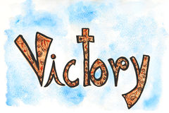 Victory text illustration line art design typography calligraphy in watercolor art. Stock Image