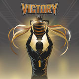 Victory trophy. Soccer player hand up victory trophy design Stock Photography
