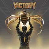 Victory trophy. Soccer player hand up victory trophy design stock illustration