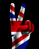 Victory UK 4. An conceptual image of hand with the UK flag, that could symbolise,freedom,peace,winning and victory Royalty Free Stock Photography