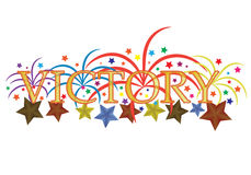 Victory. Vector illustration with the word victory, fireworks and stars Royalty Free Stock Photo