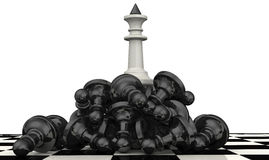 The victory of the white chess pieces Royalty Free Stock Image