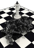 The victory of the white chess pieces Stock Images