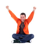 Victory - young man with raised arms Royalty Free Stock Image