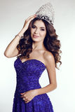 Victress of beauty contest wearing luxurious sequin dress and precious crown Royalty Free Stock Photography