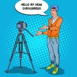 Vidéo élégante Vlog d'enregistrement de Blogger d'homme Illustration d'art de bruit Photographie stock