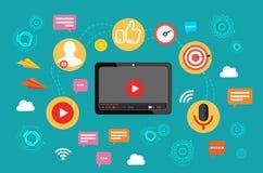 vidéo Émission visuelle le concept du marketing visuel Illustration de vecteur dans la conception plate illustration stock