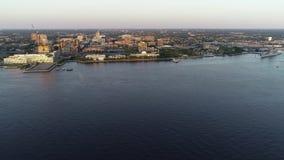 Vidéo aérienne de Camden New Jersey Waterfront banque de vidéos