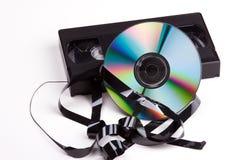 Vidéo contre DVD Photos stock