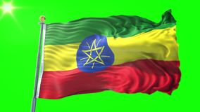 Vidéo de bouclage sans couture du rendu 3D de drapeau de l'Ethiopie Belle ondulation de boucle de tissu de tissu de textile illustration libre de droits