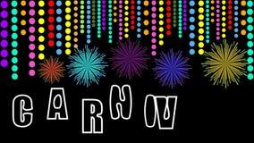 Vidéo de carnaval, film avec l'inscription animée, pyrotechnie colorée et confettis Bannière pour la partie de carnaval, feux d'a illustration libre de droits