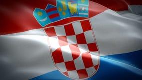Vidéo de drapeau de la Croatie ondulant en vent Fond croate réaliste de drapeau De la Croatie de drapeau plein HD 1920X1080 foota illustration de vecteur
