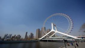 Vidéo de laps de temps de roue de ferris de Tianjin, oeil de Tianjin clips vidéos