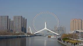 Vidéo de laps de temps de roue de ferris de Tianjin, oeil de Tianjin banque de vidéos