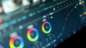 vidéo de production de courrier de correction de la couleur 4K ou plan rapproché en cours de photo banque de vidéos