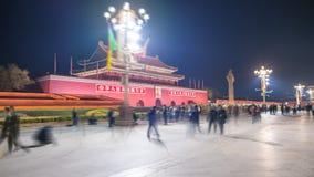 vidéo du hyperlapse 4k de Tiananmen dans Pékin la nuit banque de vidéos
