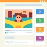 Vidéo mignonne d'homme blogging dans l'interface de Web Illustration de vecteur dans le style de bande dessinée illustration stock