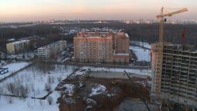 Vidéo panoramique d'hiver de ville banque de vidéos