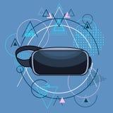 Vidéo portable de Cyber de réalité virtuelle de technologie de tête en verre de Digital au-dessus de fond géométrique de triangle Photos stock