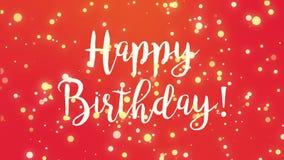 Vidéo rouge de carte de voeux de joyeux anniversaire illustration stock