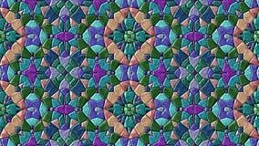 Vidéo sans couture changeante animée de boucle de fond de mosaïque de kaléidoscope de bijou - rétro spectre polychrome illustration de vecteur