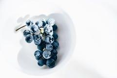 Vid de uva del Merlot en el cuenco blanco de la porcelana en la tabla blanca Imagen de archivo libre de regalías