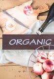Vid del melocotón y melocotones orgánicos en estilo del vintage Foto de archivo