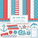Vid havet - scrapbooking sats royaltyfri illustrationer