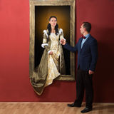 Vid liv stående av en medeltida dam Royaltyfria Bilder
