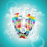 A vida é citações da inspiração dos flip-flops do betterin no fundo azul Elemento do projeto da tipografia do vetor para cartões  ilustração stock
