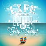 A vida é citações da inspiração dos flip-flops do betterin no fundo do seascape Elemento do projeto da tipografia do vetor para c ilustração royalty free