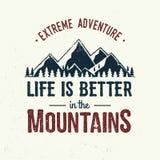 A vida é melhor nas montanhas ilustração do vetor