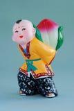 Vida afortunada china del figurine_long de la arcilla Foto de archivo