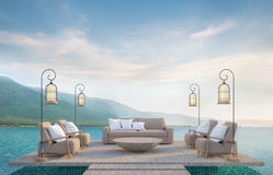 Vida al aire libre en piscina con imagen de la representación del Mountain View 3d Libre Illustration