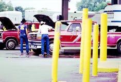 Vida americana del vintage - gasolinera Imagen de archivo libre de regalías
