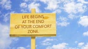 A vida começa no fim de sua zona de conforto ilustração do vetor