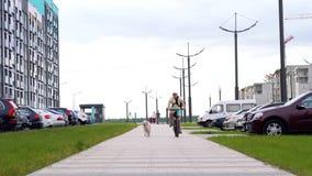 Vida con los animales domésticos en la ciudad moderna - un hombre monta una bicicleta abajo de la calle, su perro corre al costad almacen de metraje de vídeo