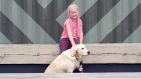 Vida con los animales domésticos en una ciudad moderna - muchacha con un aspecto poco convencional que frota ligeramente su perro metrajes