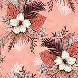 Vida Coral Tropical Exotic Foliage e teste padrão sem emenda do vetor floral do hibiscus A lápis fundo da tinta do desenho ilustração royalty free