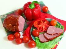 Vida da carne e dos vegetais ainda Imagens de Stock