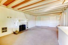 Sala de visitas americana velha da casa no porão com chaminé. foto de stock royalty free