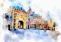 Vida da cidade no estilo da aquarela Foto de Stock Royalty Free