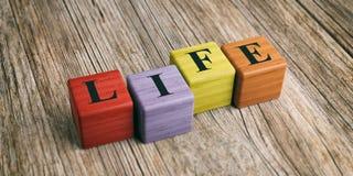 Vida da palavra em blocos de madeira ilustração 3D Fotos de Stock Royalty Free