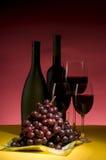 Vida da uva vermelha e do frasco de vinho ainda Fotografia de Stock Royalty Free