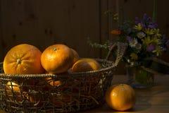 Vida das laranjas e das tangerinas ainda Foto de Stock