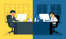 Vida de cada día del hombre de negocios cansado en el trabajo | Oficinista agotado en su escritorio ilustración del vector