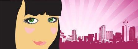 Vida de cidade, mulher bonita na rua ilustração royalty free