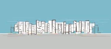 Vida de ciudad dibujada a mano stock de ilustración