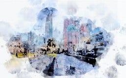 Vida de ciudad en estilo de la acuarela Fotografía de archivo libre de regalías
